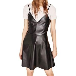 NWT Zara Black Faux Leather Dress L